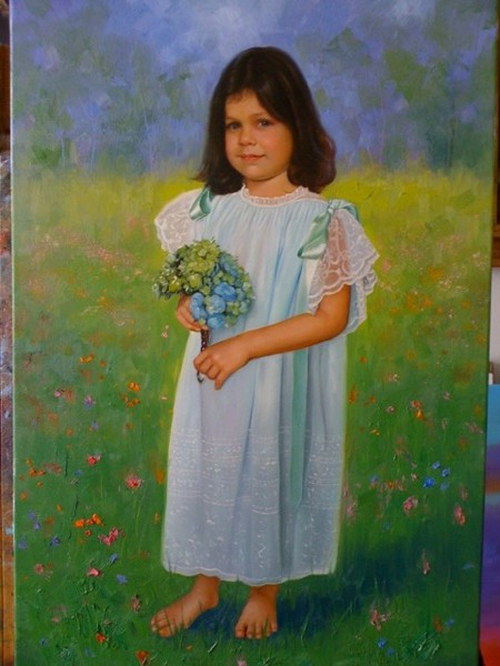 little girl portrait painting