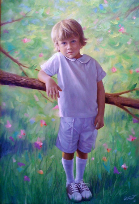 Little Boys Portrait Painting Greg Cartmell
