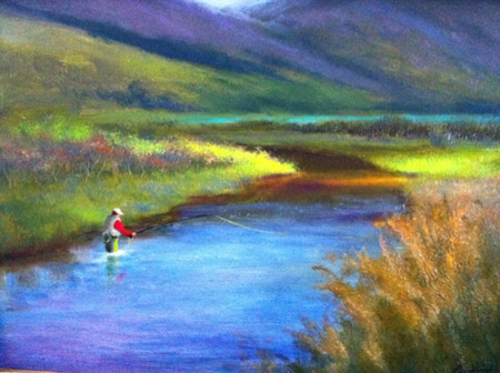 This is a painting of a fly Fly Fisherman Painting