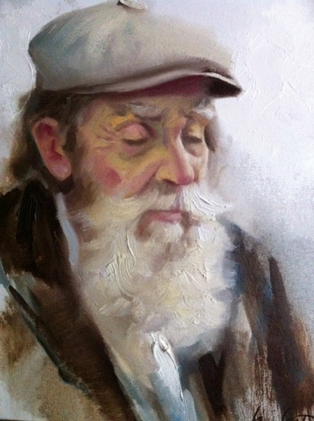 old man oil painting