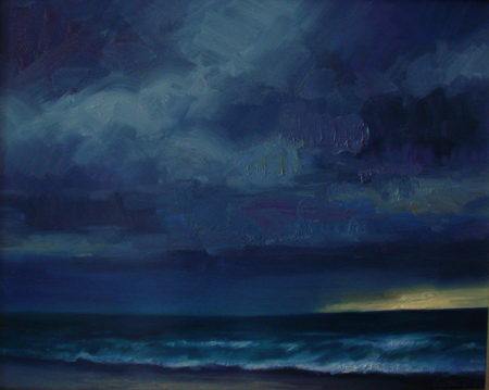 storm on the beach paintin
