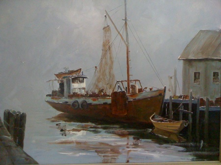 wharf oil painting