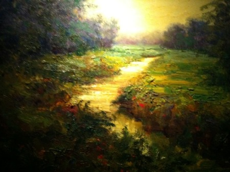 evening creek painting