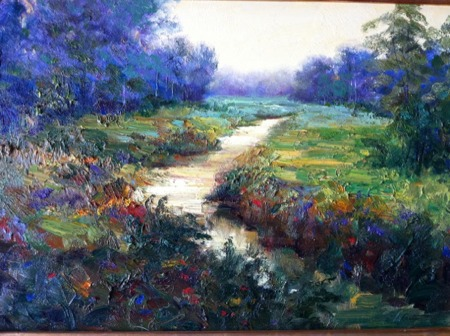 morning creek painting
