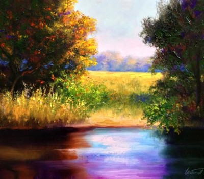 Mississippi Autumn Creek Oil Painting