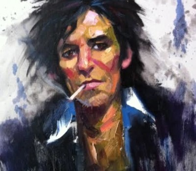 Keith Richards Portrait Sketch in Oils