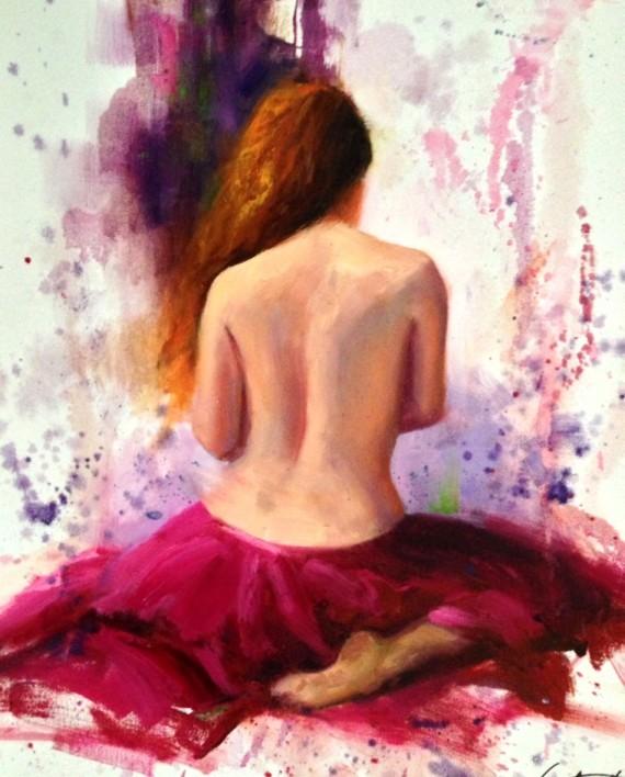 Crimson Skirt Figure Study Painting