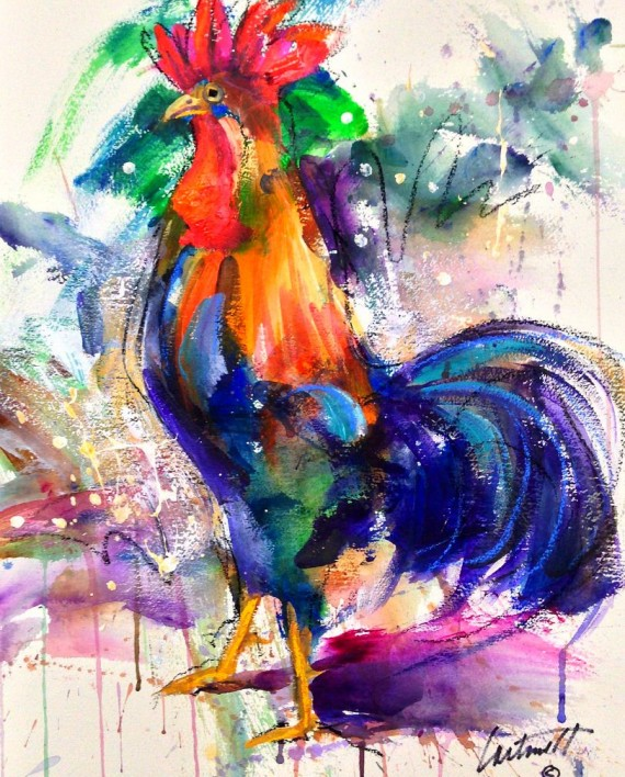 Rooster Fun Acrylic Watercolor Painting