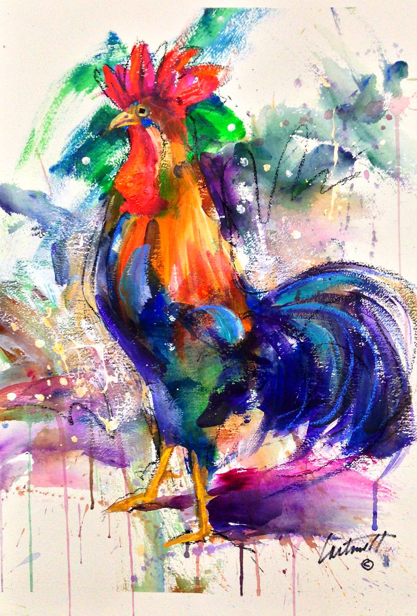Rooster Fun Acrylic On Watercolor Paper Painting