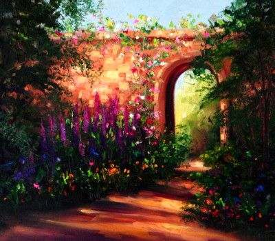 Spain Gardenwalk Oil Painting