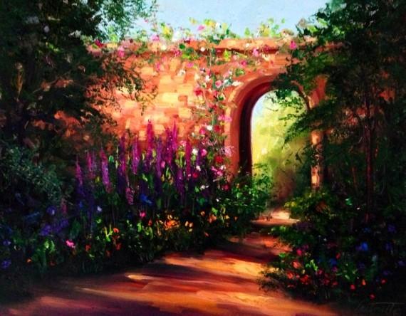 Spain Gardenwalk Oil Painting