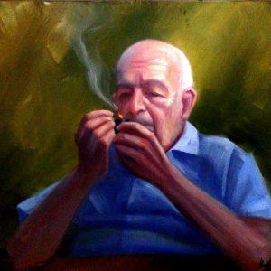 Old Man Smoking Oil Piainting