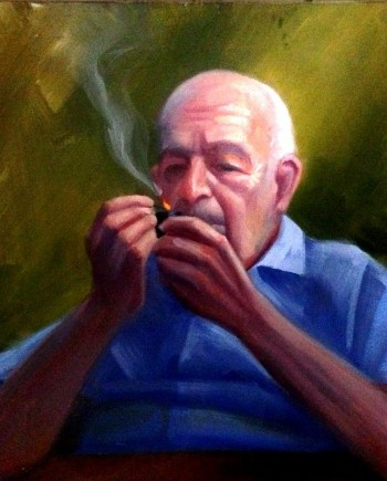 Old Man Smoking Oil Piainting
