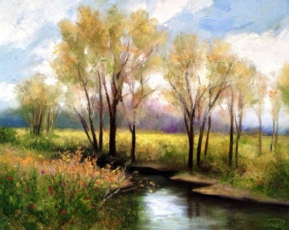 Clear Creek Sky Waterscape Painting