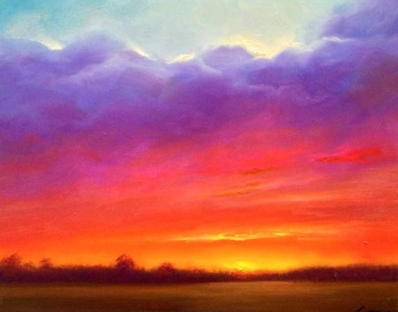 Delta Sunset Oil Painting