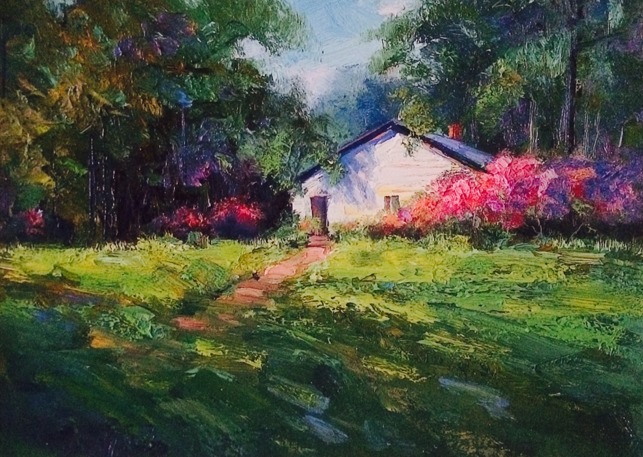 Azaleas Cottage Giclee Print
