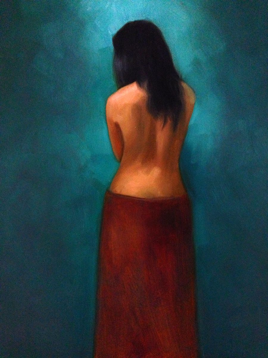 Back Study Oil on Panel Painting