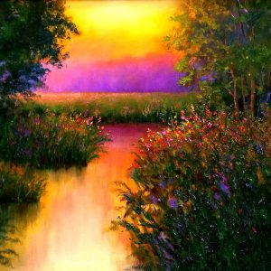 Morning Glow Sunrise Oil Painting