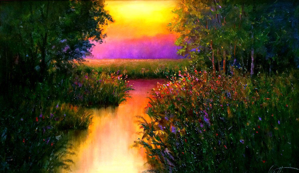 Morning Glow Sunrise Oil Painting