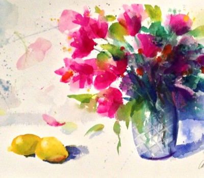 Watercolor Lemon Flowers