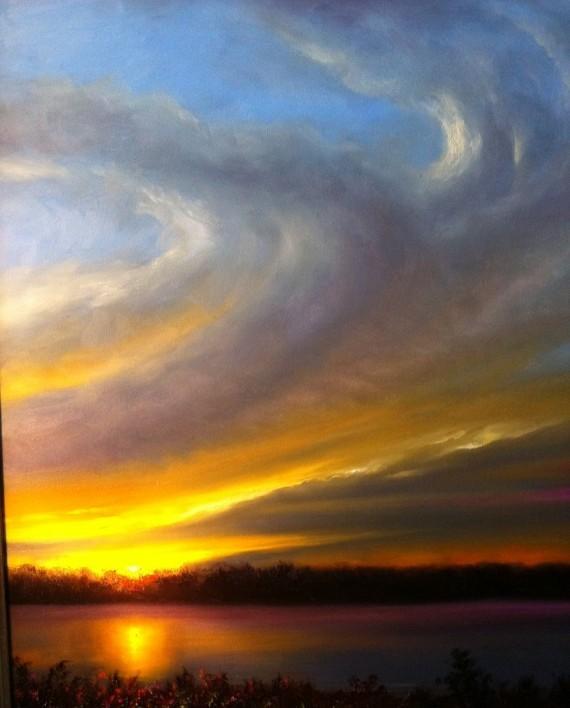Okatibbee Sunset Oil Painting