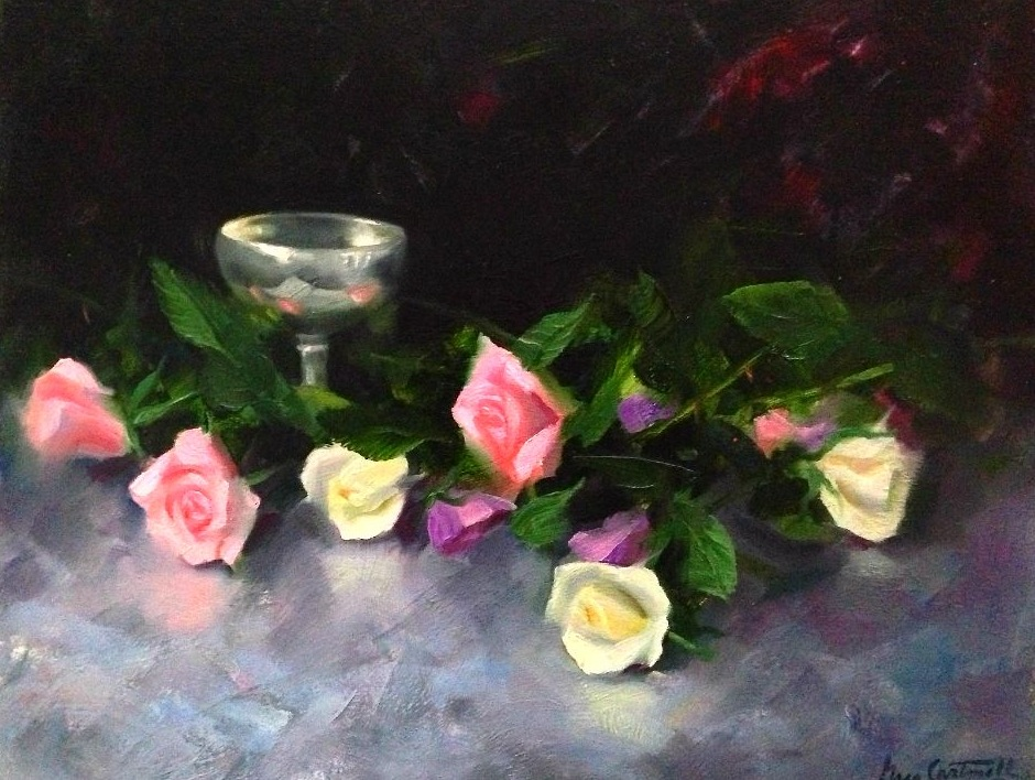 Silver and Roses Still Life Painting