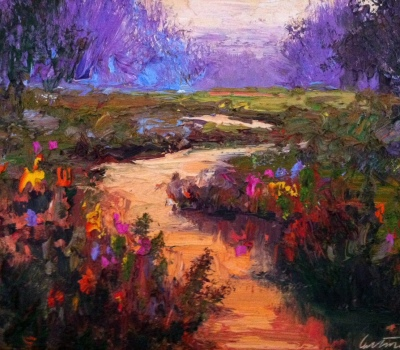 Purple Sky Landscape Oil Painting