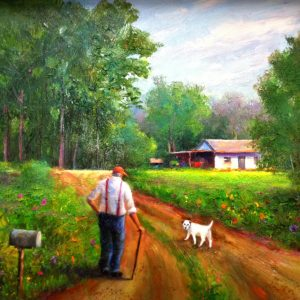 Old Man Getting The Mail Oil Painting