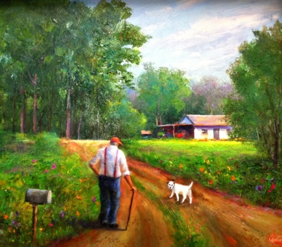 Old Man and His Dog Oil Painting