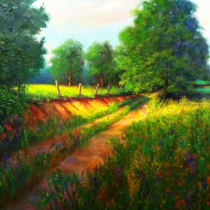 Old Clay Road Oil Painting Art
