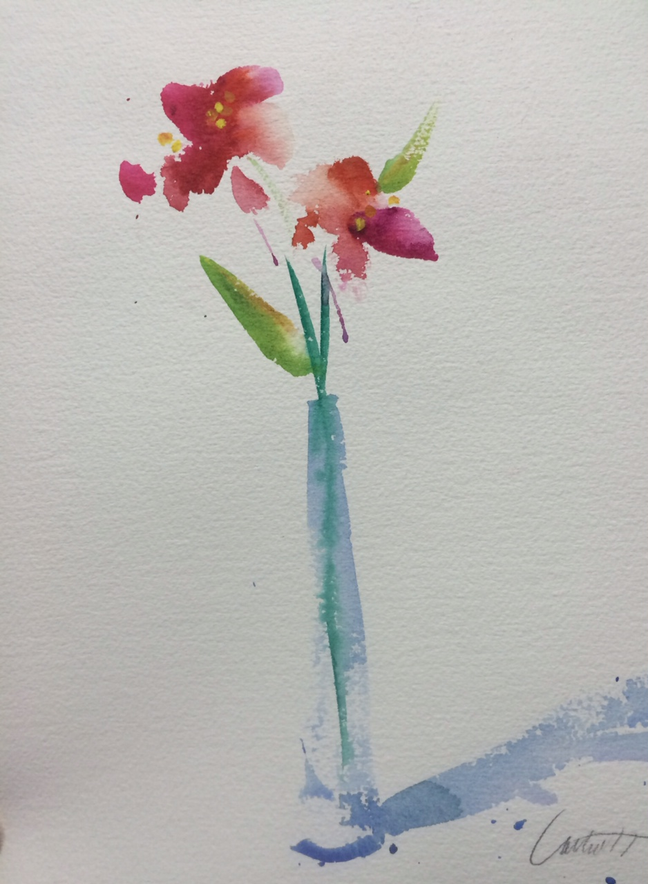 Simple flowers watercolor painting