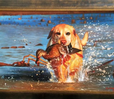 Duck Hunting Painting of Don's Yellow Lab