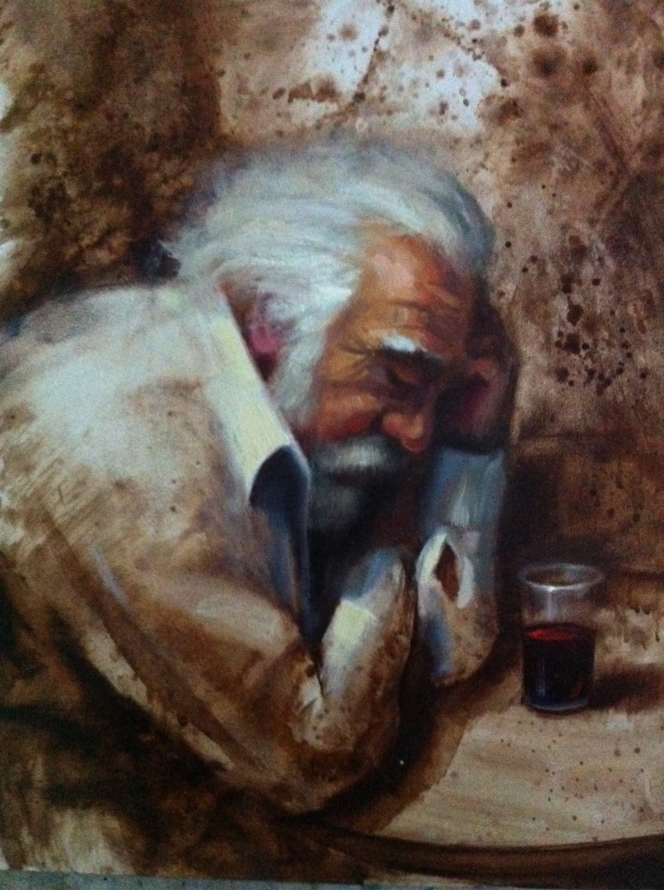 a man drinking wine painting