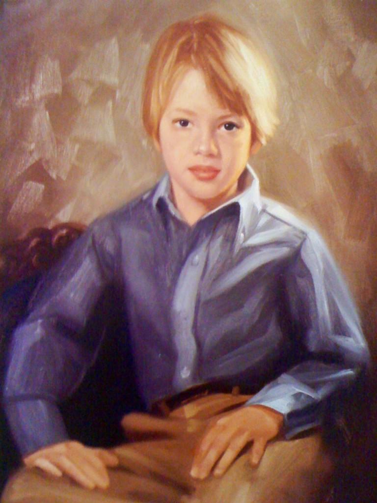 Boy Caleb Portrait Painting - Greg Cartmell