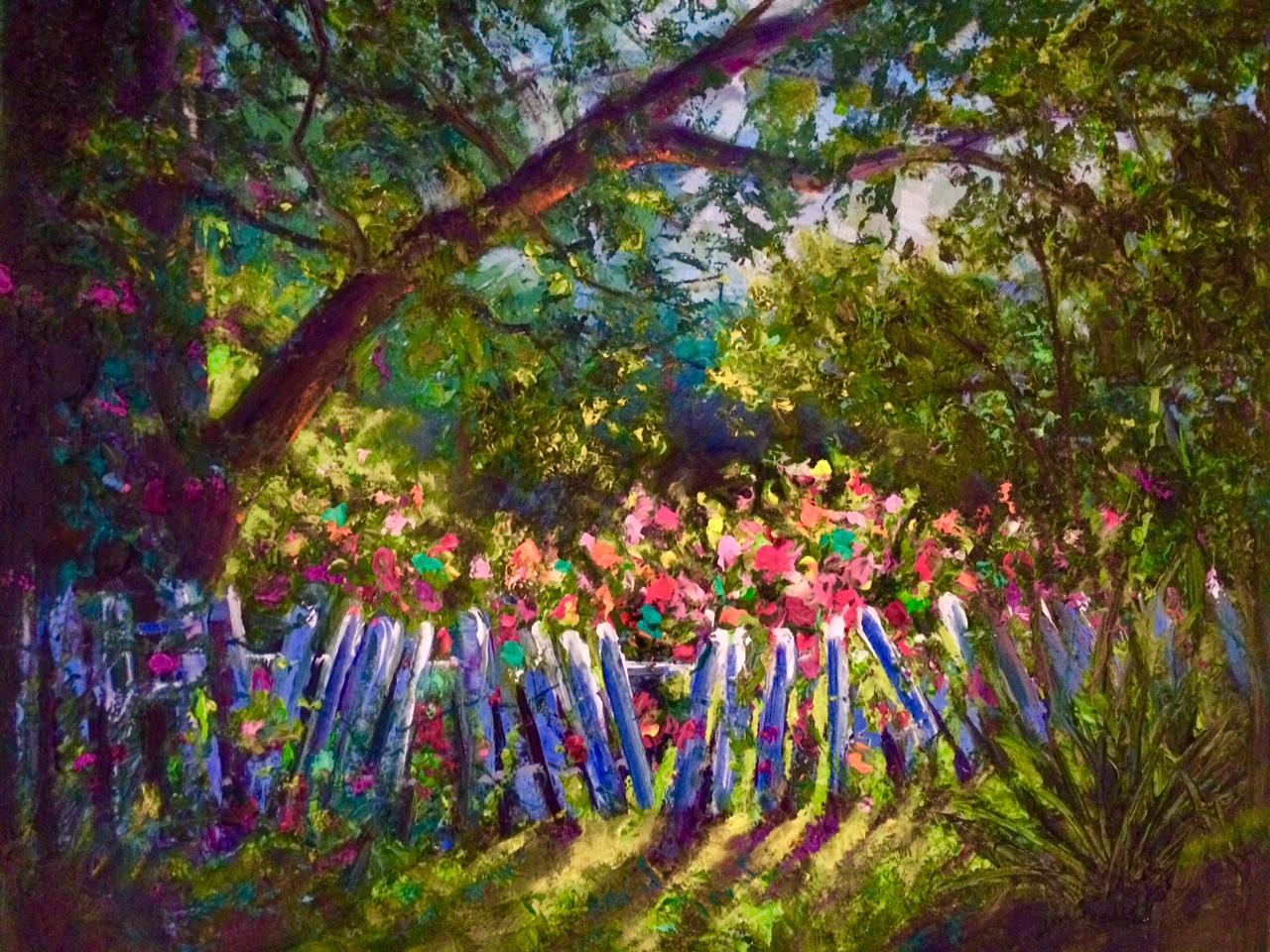 Broken Garden Fence Painting