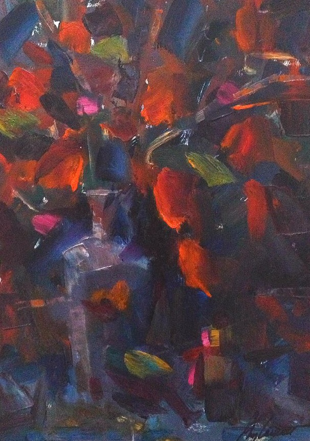 Chinese Lanterns Abstract Oil Painting