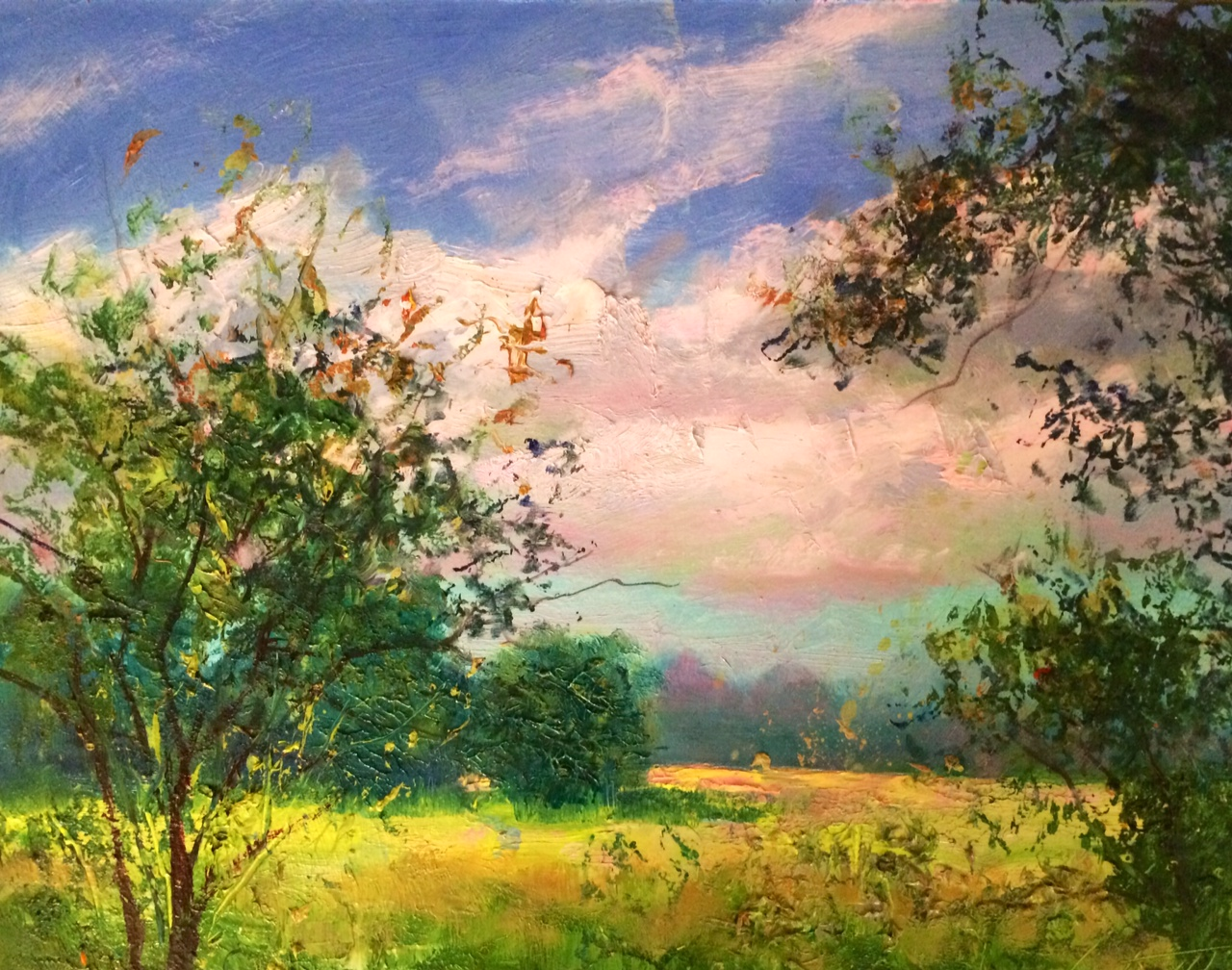 Clouds Plein Air oil on Panel