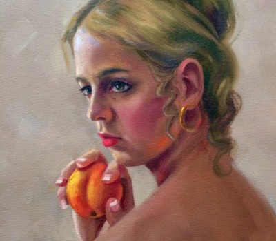 Girl Portrait And The Peach