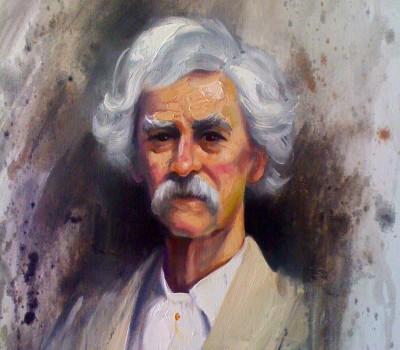 Mark Twain Oil Painting on Canvas
