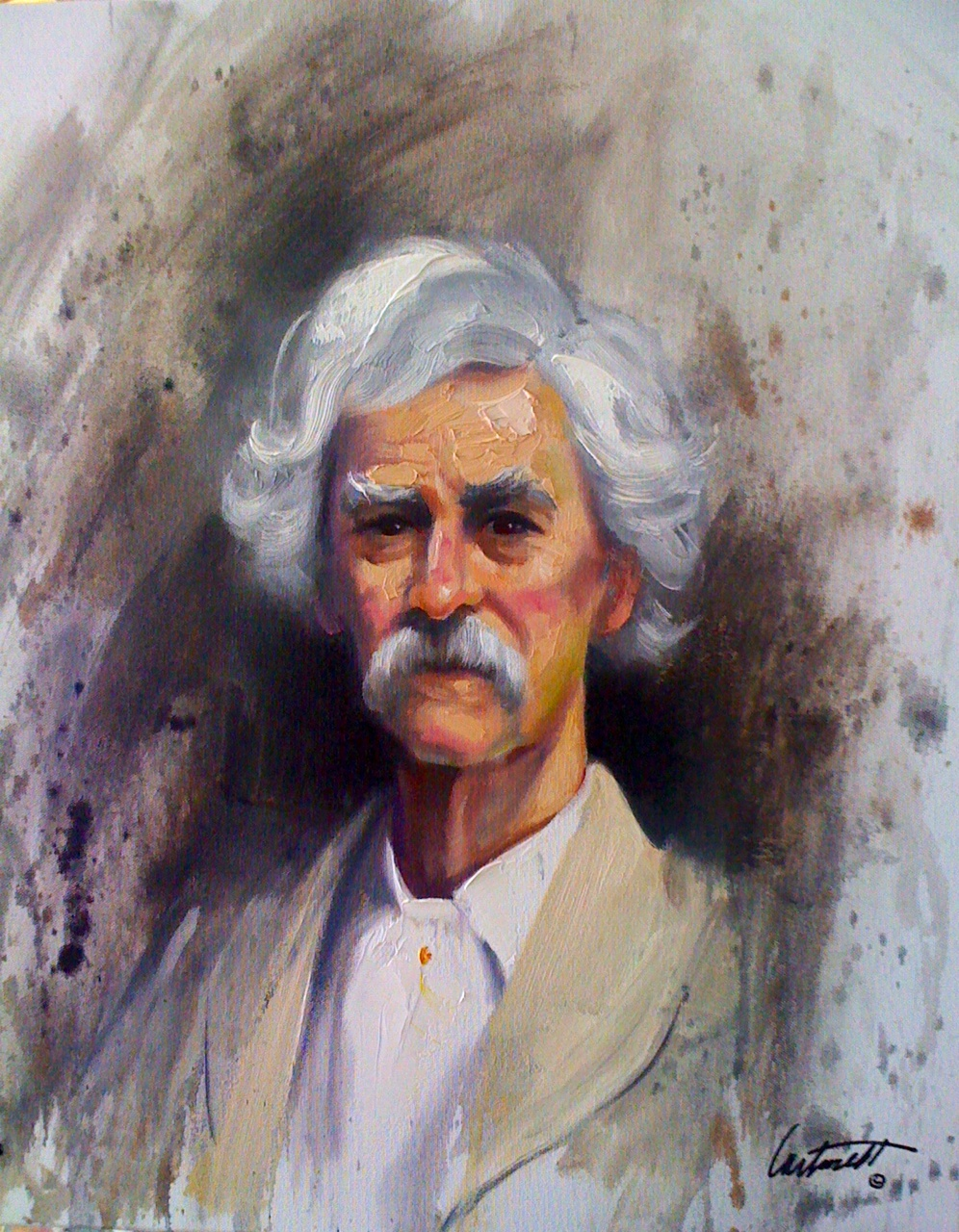 Mark Twain Oil Painting on Canvas