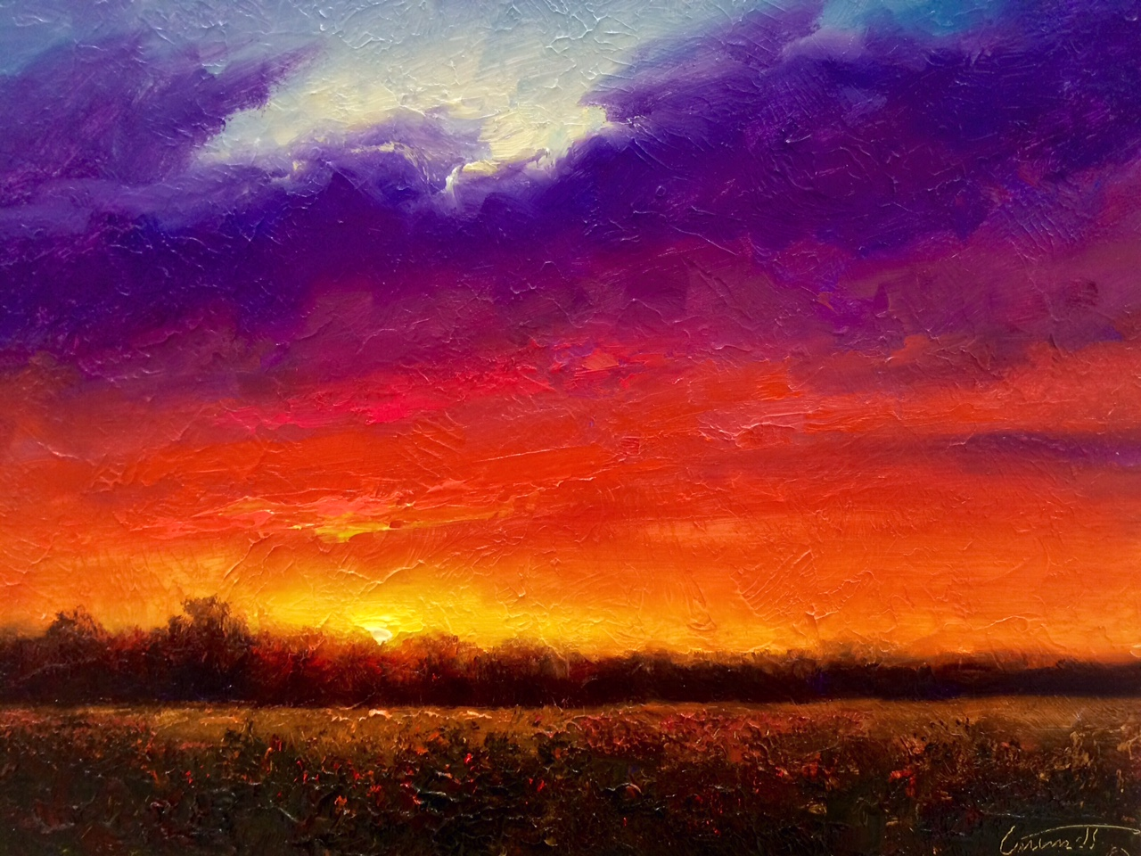Sky Fire Evening Sunset Painting