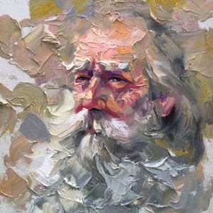 old man portrait study painting Walking Dead Hershel