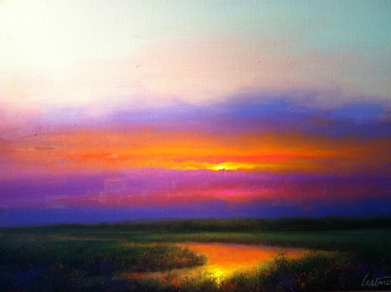 Purple Evening Sunset Painting