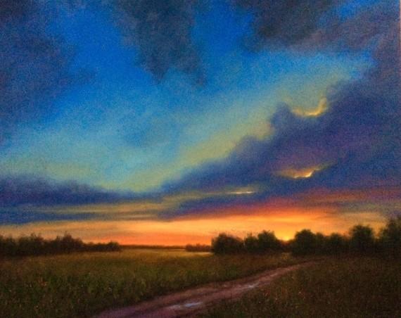 blue sky sunset painting