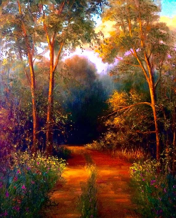 evening road golden hour oil painting