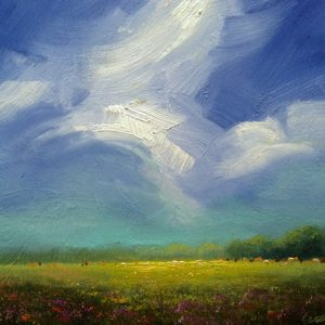 cloudscape field painting