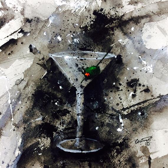martini olive art work
