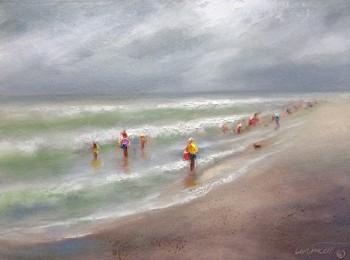 alabama beach day gray oil painting