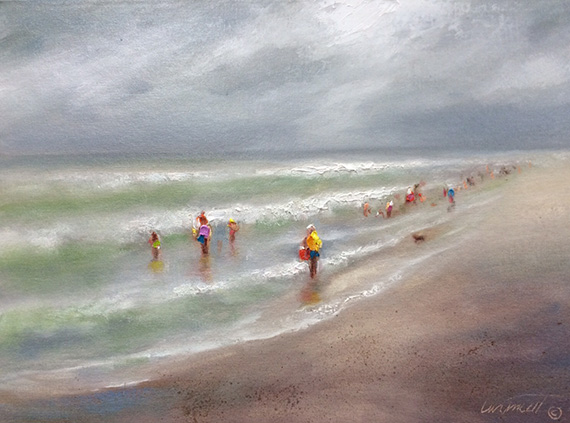 alabama beach day gray oil painting