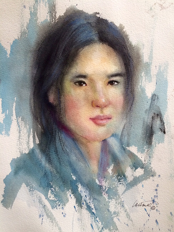 asian girl watercolor portrait